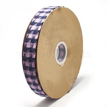 Braided Nylon Ribbon, Tartan Ribbon, Pearl Pink, 1 inches(25~27mm); about 20yards/roll(18.2m/roll)(SRIB-N003-25A)