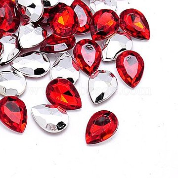 Imitation Taiwan Acrylic Rhinestone Cabochons, Pointed Back & Faceted, Teardrop, Red, 30x20x7.5mm, about 100pcs/bag(GACR-A017-20x30mm-06)
