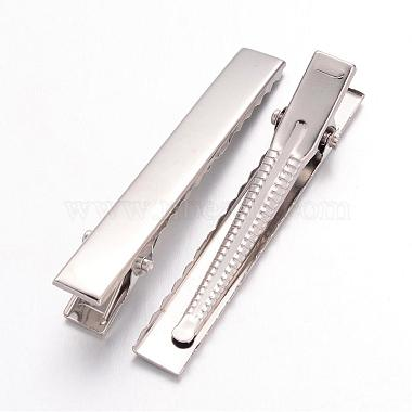 Platinum Plated Iron Flat Alligator Hair Clip Findings for DIY Hair Accessories Making(X-IFIN-S286-57mm)-2