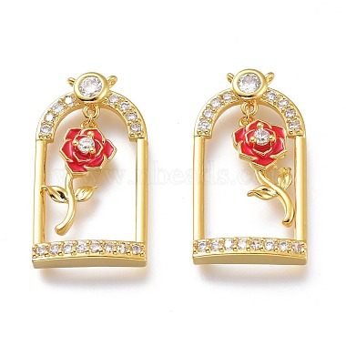 Real 18K Gold Plated Red Others Brass+Cubic Zirconia+Enamel Pendants