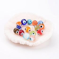 Perles vernissées manuelles, mauvais œil, rond, couleur mixte, environ 10 mm de diamètre, Trou: 1mm(X-DT249J)