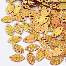 Liens de paillette en plastique, perles de paillettes, feuille, chocolat, 8.5x4.5x0.5mm, trou: 1 mm; environ 300 pcs / 50 g(X-PVC-R009-0660)