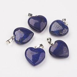 Природный лазурит подвески, сердце, с латунной фурнитурой , платина, 22~23x19.5~20.5x6~7.5 мм, отверстие : 5x7~8 мм(G-E467-03G-FF)