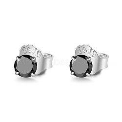 999 boucles d'oreille en argent sterling, avec 925 écrou d'oreille en argent sterling / dos de boucle d'oreille et zircone cubique, platine, noir, 13 mm; 3 mm; broches: 0.7 mm(STER-S005-01A-03)