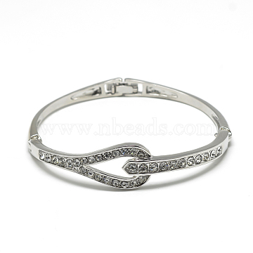 Beauty Alloy Bangles, with Rhinestones, Platinum, 2inches~2-1/4inches(52~57mm)(X-BJEW-S126-54P)