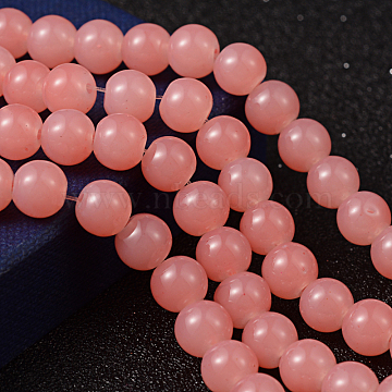 Imitation Jade Glass Beads Strands, Spray Painted, Round, Light Coral, 8mm, Hole: 1.3~1.6mm, about 100pcs/strand, 31.4 inches(X-DGLA-S076-8mm-07)