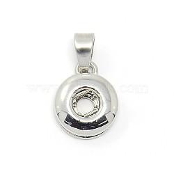 Сплав делать ювелирных изделий для кнопках, без кадмия и без никеля и без свинца, плоско-круглые, платина, 15x12x5 мм, Отверстие: 6.5x4 мм; Ручка: 4.5 мм(X-MAK-O003-01-NR)