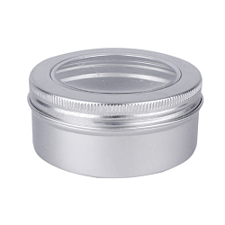 Boîtes de conserve rondes en aluminium de 150 ml, pot en aluminium, récipients de stockage pour perles de bijoux, des sucreries, avec lèvre supérieure à vis et fenêtre transparente, platine, 8.3x3.8 cm; capacité: 150 ml(CON-L009-A01)
