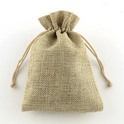 Sacs en polyester imitation toile de jute sacs à cordon, tan, 13.5x9.5 cm(ABAG-R004-14x10cm-05)