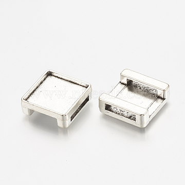 Antique Silver Square Alloy Slide Charms