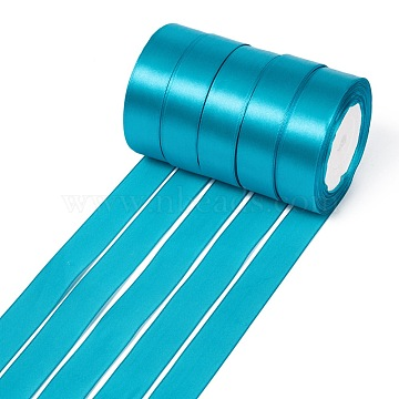 Single Face Satin Ribbon, Polyester Ribbon, Deep Sky Blue, 1 inches(25mm) wide, 25yards/roll(22.86m/roll), 5rolls/group, 125yards/group(114.3m/group)(RC25mmY047)