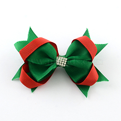Christmas Grosgrain Bowknot Alligator Hair Clips, with Iron Clips and Rhinestones, Green, Platinum, 70x90mm; clip: 41x7mm(PHAR-R167-12)