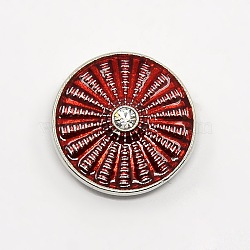 Boutons émail en alliage de zinc ton platine, boutons ronds bijoux snap plats, sans plomb et sans nickel, DarkRed, 19.5x7 mm; bouton: 5 mm(SNAP-G001-21A-FF)