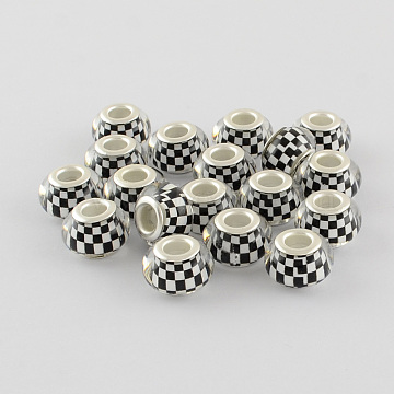 Mosaic Pattern Acrylic European Beads, with Silver Color Plated Brass Double Cores, Large Hole Rondelle Beads, White, 14x9mm, Hole: 5mm(X-OPDL-R115-03)
