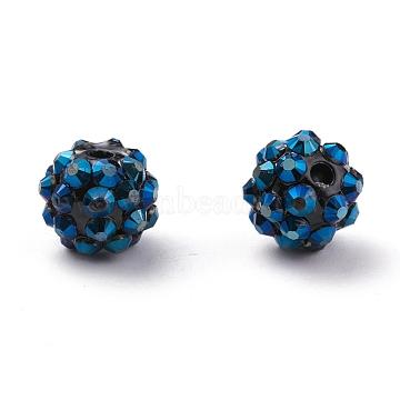 Chunky Resin Rhinestone Beads, Resin Round Beads, MarineBlue, 12mm, Hole: 1.5~2mm(RESI-M019-11)