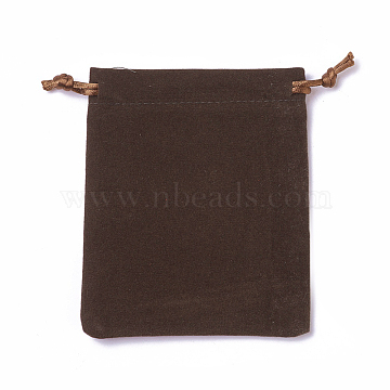 Velvet Packing Pouches, Drawstring Bags, Coffee, 12~12.6x10~10.2cm(TP-I002-10x12-04)