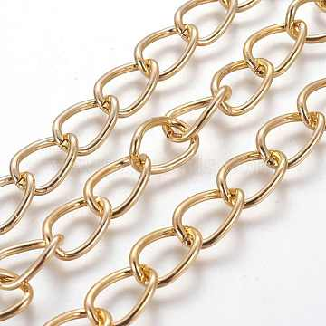 Decorative Chain Aluminium Twisted Chains Curb Chains, Unwelded, Golden, 15x10x2mm(X-CHA-M001-16)