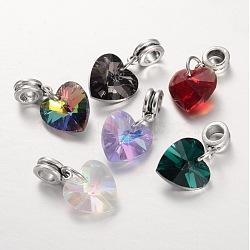 Perles européennes en alliage avec gros trou, avec pendentifs coeur en verre electroplated, argent antique, couleur mixte, 25mm, Trou: 5mm(PALLOY-JF00041)