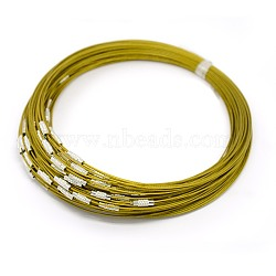 """Fil d'acier pour collier, agréable pour les bijoux DIY faisant, avec du laiton fermoir à vis, or, 17.5"""", 1 mm(X-TWIR-SW001-6)"""