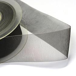 "Ruban d'organza polyester, grises , 3/8"" (9 mm); environ 200yards / rouleau (182.88m / rouleau)(ORIB-Q025-9mm-04)"