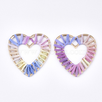 60mm Colorful Heart Raffia Pendants
