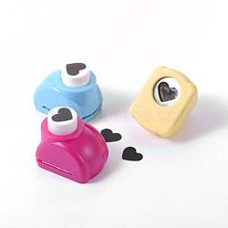 Kits de perforateurs en plastique multicolores de couleur aléatoire ou de couleurs mélangées aléatoires pour scrapbooking & artisanat en papier, shapers de papier, cœur, 33x26x31mm(AJEW-F003-17C)