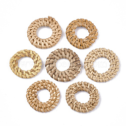 Handmade Reed Cane/Rattan Woven Linking Rings, For Making Straw Earrings and Necklaces, Ring, BurlyWood, 30~35x4~6mm, Inner Diameter: 10~17mm(X-WOVE-T006-155B)