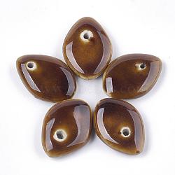Pendentifs en porcelaine fait à la main, porcelaine émaillée lumineux, oeil, marron, 25x18x5mm, Trou: 1.8mm(PORC-S498-52B)
