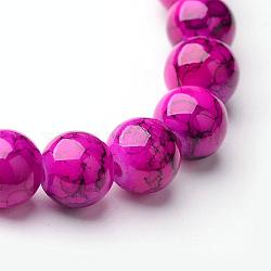 Spray Painted Glass Bead Strands, Round, Deep Pink, 8mm, Hole: 1.3~1.6mm, about 100pcs/strand, 31.4 inches(X-GLAD-S075-8mm-37)