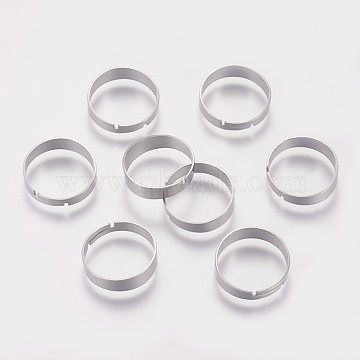 316 Surgical Stainless Steel Finger Ring Settings, Adjustable, Stainless Steel Color, Size 7, 17mm;  4~5mm(STAS-I090-01P)