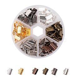 1 120 boîte pcs 6 extrémités du ruban couleurs de fer, couleur mélangée, 10x7 mm, trou: 2 mm; A propos de 20 pcs / compartiment.(IFIN-X0019-B)
