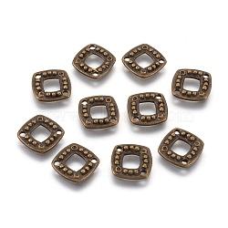 Alliage carré supports connecteur de strass, sans plomb et sans cadmium et sans nickel, bronze antique, 11.5x2mm, Trou: 1.5mm(X-EA464Y-NFAB)