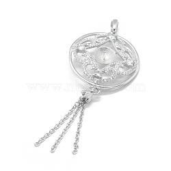 Pendentif de bélière en 925 argent sterling, avec zircon cubique, pour la moitié de perles percées, rond plat avec gland, clair, platine, 59x24.5mm, trou: 4.5x3.5mm; broches: 0.8mm; Plateau: 6.5mm(STER-L055-002P)