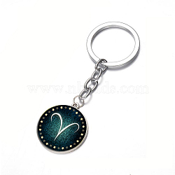 Alloy Keychain, with Glass, Flat Round with Twelve Constellations, Aries, 80x25mm(X-KEYC-F028-46P-01)