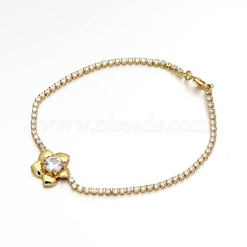 Golden Plated Brass Cubic Zirconia Cup Chain Bracelets, Flower, Clear, 200x2mm(BJEW-H0001-04G)
