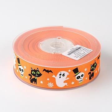 Grosgrain Ribbon For Halloween, Dark Orange, 1 inches(26mm), about 100yards/roll(91.44m/roll)(SRIB-D057-03)