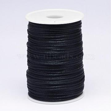 Polyester Cord, Satin Rattail Cord, for Beading Jewelry Making, Chinese Knotting, Black, 2mm, about 100yards/roll(NWIR-N009-12)