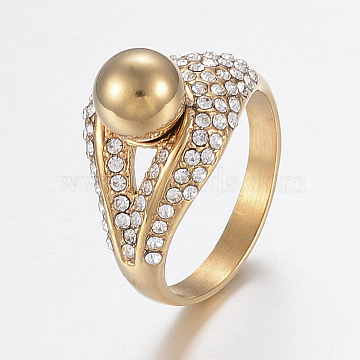 Vacuum Plating 304 Stainless Steel Rhinestone Finger Rings, Round, Golden, Size 8, 18mm(RJEW-H125-61G-18mm)