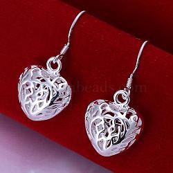 Laiton coeur pendentif boucles d'oreilles de haute qualité, argenterie, 30x15mm(EJEW-BB11948)