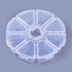 perle en plastique conteneurs, flip top stockage de perles, 8 compartiments, effacer, 10.5x10.5x2.8 cm(X-C008Y)