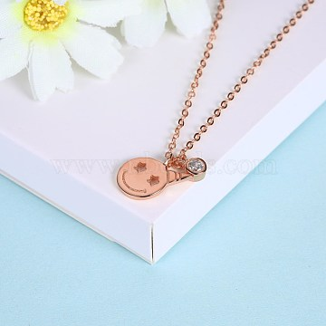 Fashion Sterling Silver Pendant Necklaces, Smile Face, Rose Gold, 15.75 inches(40cm)(NJEW-BB28809-B)