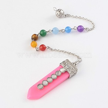 Resin Bracelets Making, with Gemstone Beads and Alloy Findings, Flamingo, 230mm(RESI-D048-01)