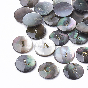 Black Lip Shell Caboshons, Flat Round with Initial Letter, Black, 10x1~3mm(X-SSHEL-Q303-001)