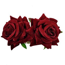 Peignes en fer, de velours fleur, DarkRed, 90x60mm(OHAR-Q280-01E)