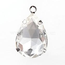 Déposer laiton pendentifs en strass de verre, platine, 29x18x8mm, Trou: 2.5mm(RB-M071-04P)
