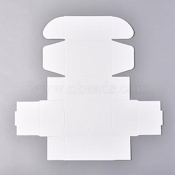 Kraft Paper Gift Box, Folding Boxes, Rectangle, White, 24.5x24x0.04cm; finished product: 8x6x4cm(X-CON-K003-03B-02)