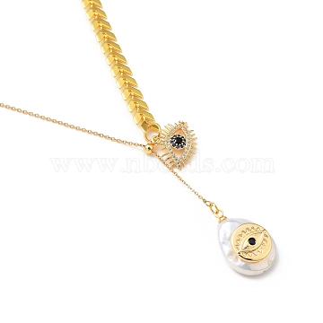 Brass Lariat Necklaces, with Cubic Zirconia and Natural Cultured Freshwater Pearl Pendants, Teardrop & Eye, Golden, 18.54 inches(47.1cm)(NJEW-JN03000)