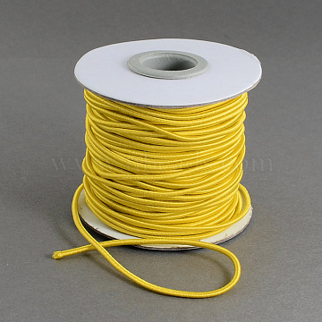 Round Elastic Cord, with Nylon Outside and Rubber Inside, Gold, 2mm, about 32.8 yards(30m)/roll(EC-R001-2mm-13B)