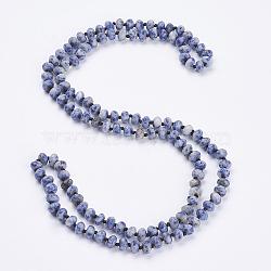 многоцветные колье / браслеты с запахом из натуральной синевы, три-четыре петли браслеты, граненый, счеты, 37.4 (95 см)(NJEW-K095-A03)