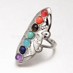 Bijoux chakra, bagues en pierre mélangées naturelles / synthétiques en laiton, anneaux large bande, creux, taille 8, platine, 18mm(X-KK-J298-28-NR)